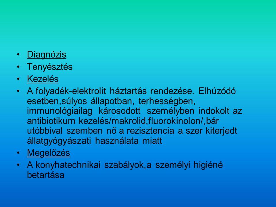 Diagnózis Tenyésztés Kezelés A folyadék-elektrolit háztartás rendezése.
