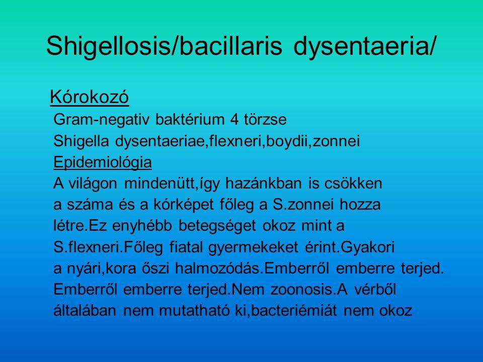 Shigellosis/bacillaris dysentaeria/ Kórokozó Gram-negativ baktérium 4 törzse Shigella dysentaeriae,flexneri,boydii,zonnei Epidemiológia A világon mindenütt,így hazánkban is csökken a száma és a kórképet főleg a S.zonnei hozza létre.Ez enyhébb betegséget okoz mint a S.flexneri.Főleg fiatal gyermekeket érint.Gyakori a nyári,kora őszi halmozódás.Emberről emberre terjed.