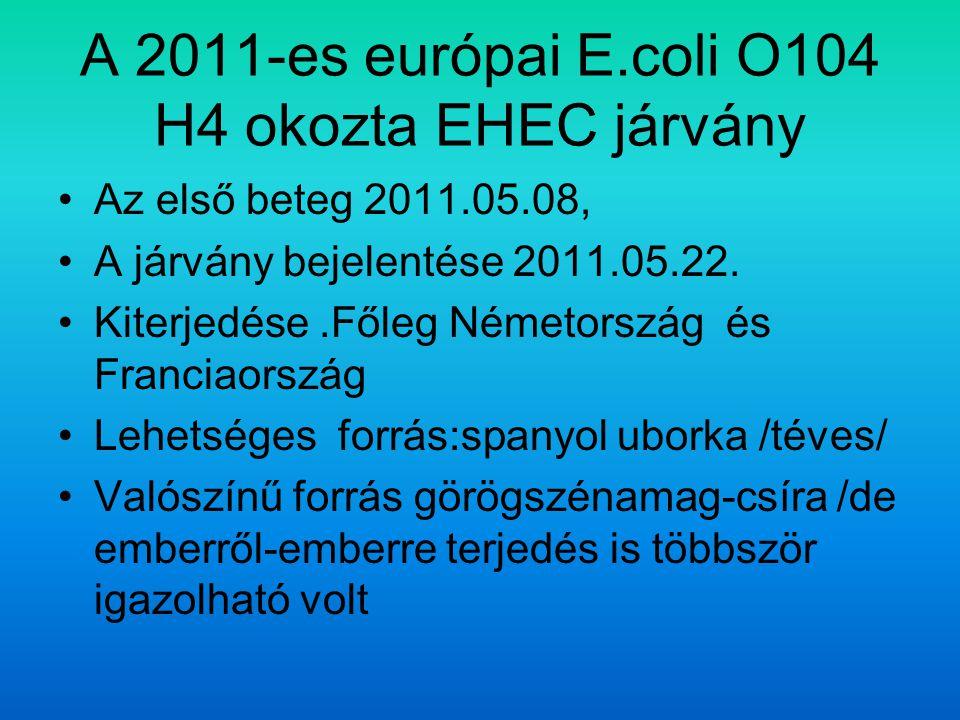A 2011-es európai E.coli O104 H4 okozta EHEC járvány Az első beteg 2011.05.08, A járvány bejelentése 2011.05.22.