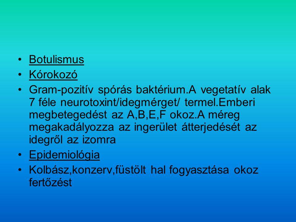 Botulismus Kórokozó Gram-pozitív spórás baktérium.A vegetatív alak 7 féle neurotoxint/idegmérget/ termel.Emberi megbetegedést az A,B,E,F okoz.A méreg megakadályozza az ingerület átterjedését az idegről az izomra Epidemiológia Kolbász,konzerv,füstölt hal fogyasztása okoz fertőzést