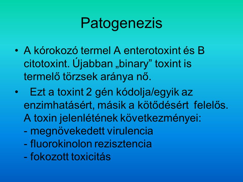 Patogenezis A kórokozó termel A enterotoxint és B citotoxint.