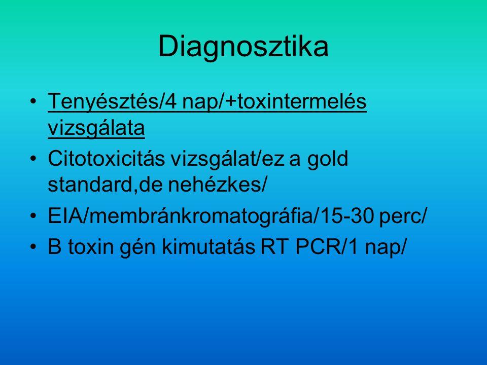 Diagnosztika Tenyésztés/4 nap/+toxintermelés vizsgálata Citotoxicitás vizsgálat/ez a gold standard,de nehézkes/ EIA/membránkromatográfia/15-30 perc/ B toxin gén kimutatás RT PCR/1 nap/