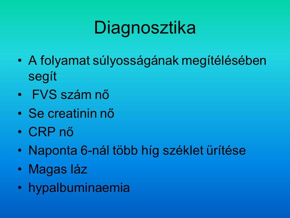 Diagnosztika A folyamat súlyosságának megítélésében segít FVS szám nő Se creatinin nő CRP nő Naponta 6-nál több híg széklet ürítése Magas láz hypalbuminaemia