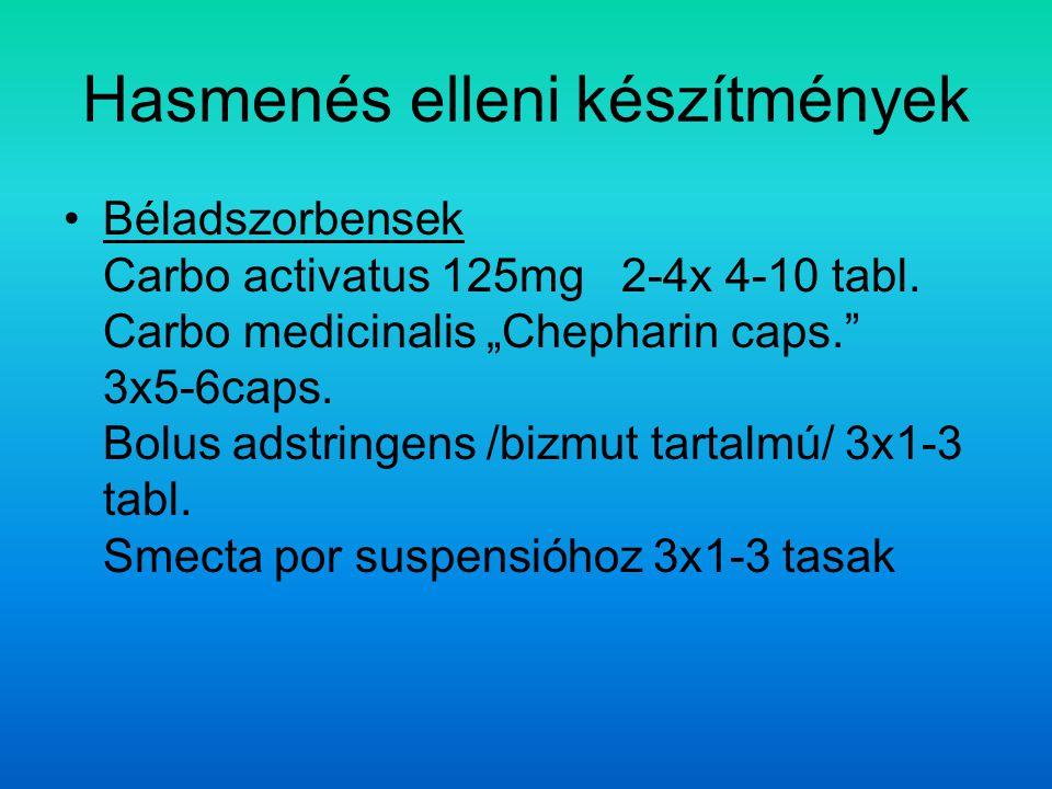 Hasmenés elleni készítmények Béladszorbensek Carbo activatus 125mg 2-4x 4-10 tabl.