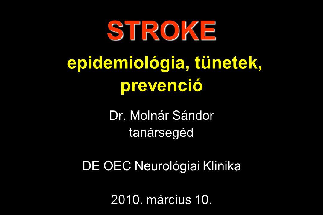 STROKE STROKE epidemiológia, tünetek, prevenció Dr. Molnár Sándor tanársegéd DE OEC Neurológiai Klinika 2010. március 10.
