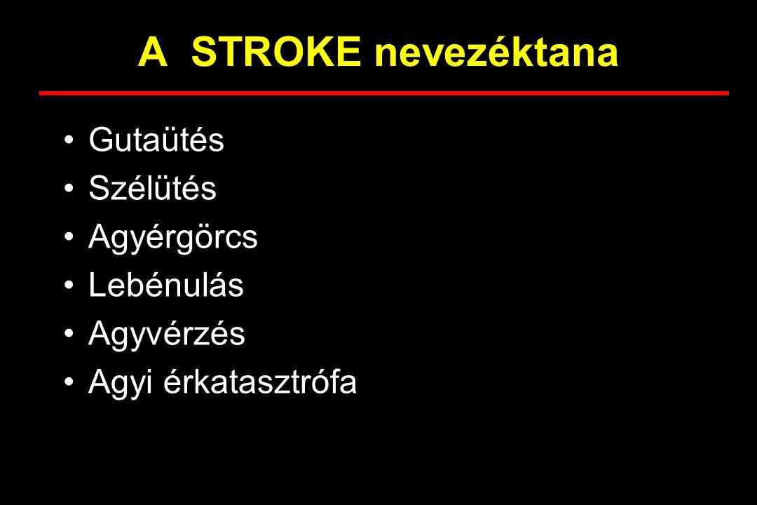 A STROKE nevezéktana Gutaütés Szélütés Agyérgörcs Lebénulás Agyvérzés Agyi érkatasztrófa
