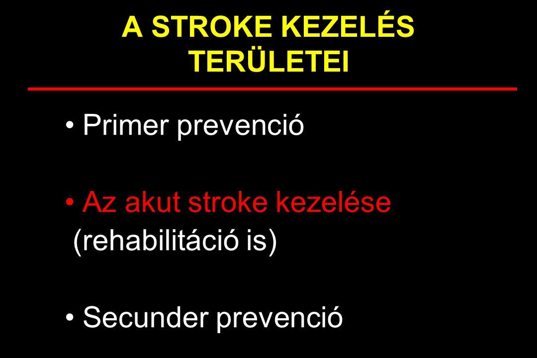 A STROKE KEZELÉS TERÜLETEI Primer prevenció Az akut stroke kezelése (rehabilitáció is) Secunder prevenció