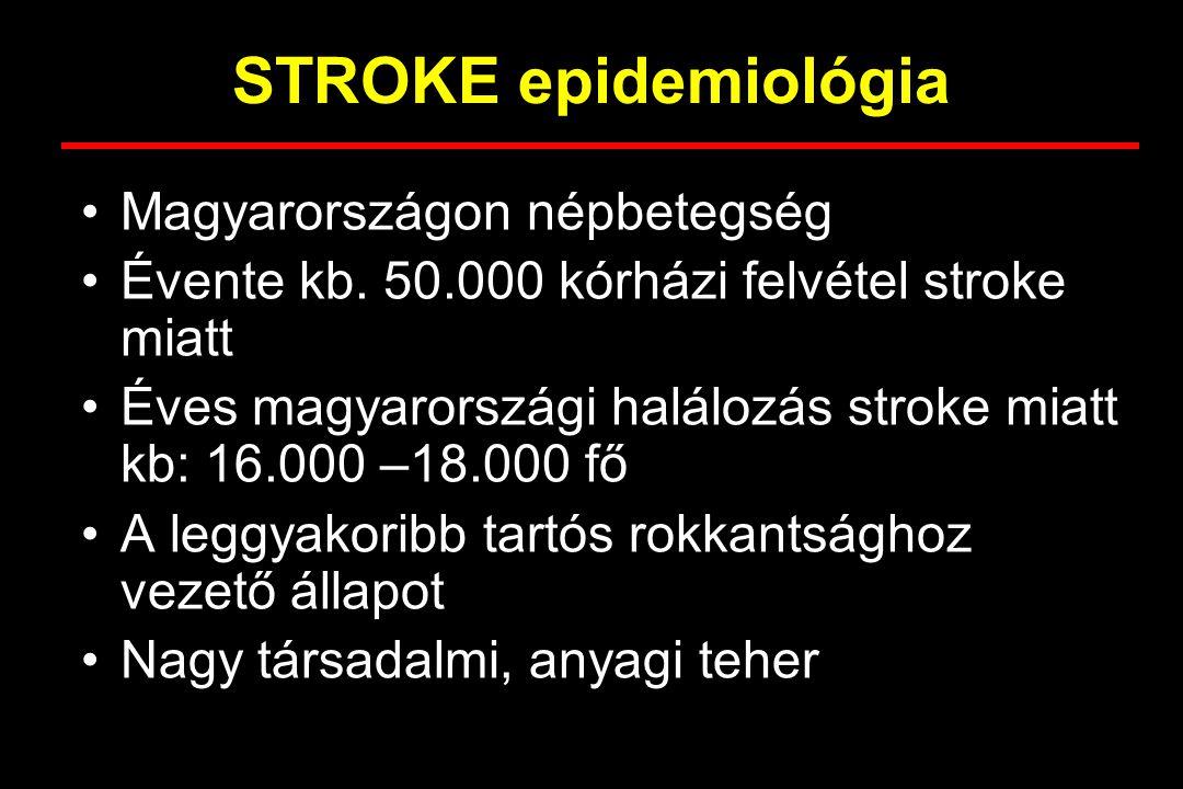 STROKE epidemiológia Magyarországon népbetegség Évente kb. 50.000 kórházi felvétel stroke miatt Éves magyarországi halálozás stroke miatt kb: 16.000 –