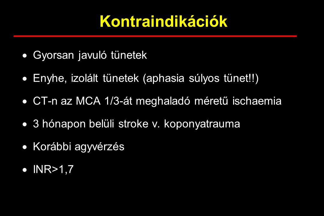 Kontraindikációk  Gyorsan javuló tünetek  Enyhe, izolált tünetek (aphasia súlyos tünet!!)  CT-n az MCA 1/3-át meghaladó méretű ischaemia  3 hónapo