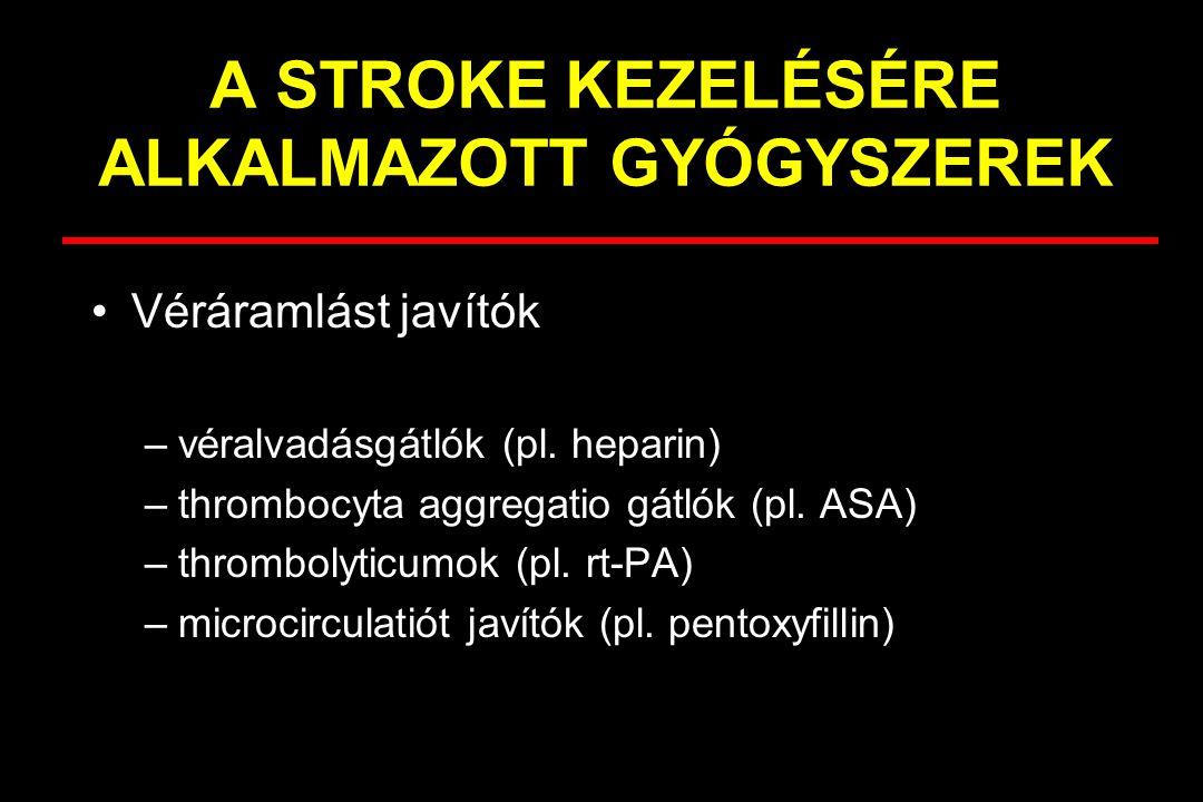 A STROKE KEZELÉSÉRE ALKALMAZOTT GYÓGYSZEREK Véráramlást javítók –véralvadásgátlók (pl. heparin) –thrombocyta aggregatio gátlók (pl. ASA) –thrombolytic