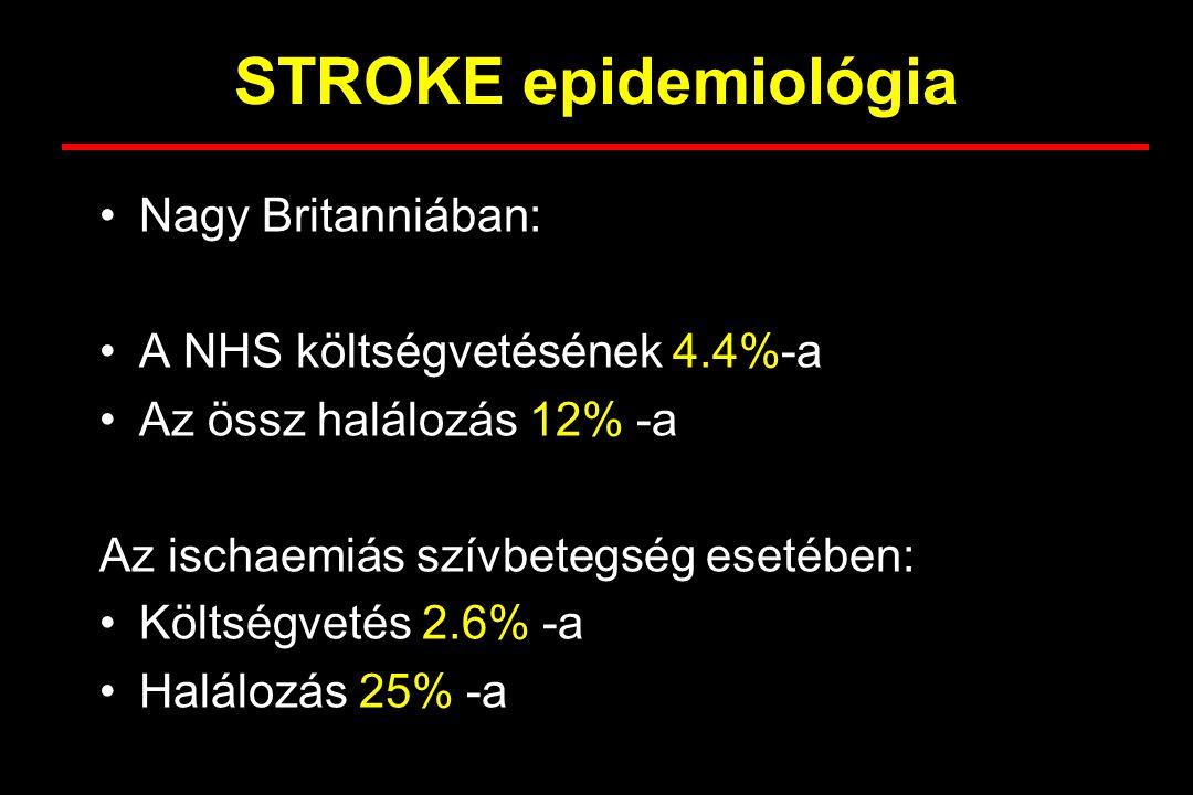 STROKE epidemiológia Nagy Britanniában: A NHS költségvetésének 4.4%-a Az össz halálozás 12% -a Az ischaemiás szívbetegség esetében: Költségvetés 2.6%