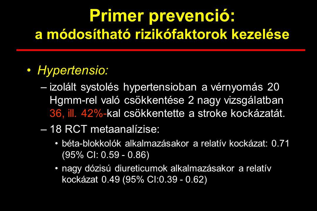 Primer prevenció: a módosítható rizikófaktorok kezelése Hypertensio: –izolált systolés hypertensioban a vérnyomás 20 Hgmm-rel való csökkentése 2 nagy