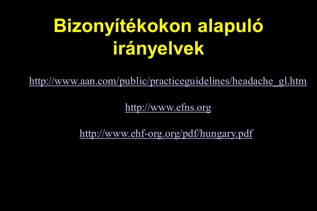 Bizonyítékokon alapuló irányelvek http://www.aan.com/public/practiceguidelines/headache_gl.htm http://www.efns.org http://www.ehf-org.org/pdf/hungary.pdf