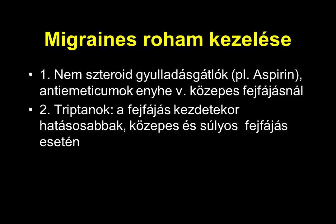 Migraines roham kezelése 1.Nem szteroid gyulladásgátlók (pl.