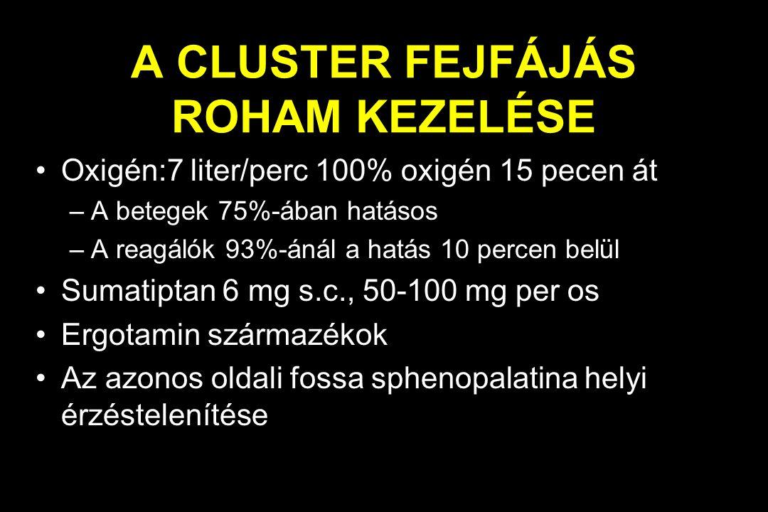 A CLUSTER FEJFÁJÁS ROHAM KEZELÉSE Oxigén:7 liter/perc 100% oxigén 15 pecen át –A betegek 75%-ában hatásos –A reagálók 93%-ánál a hatás 10 percen belül Sumatiptan 6 mg s.c., 50-100 mg per os Ergotamin származékok Az azonos oldali fossa sphenopalatina helyi érzéstelenítése