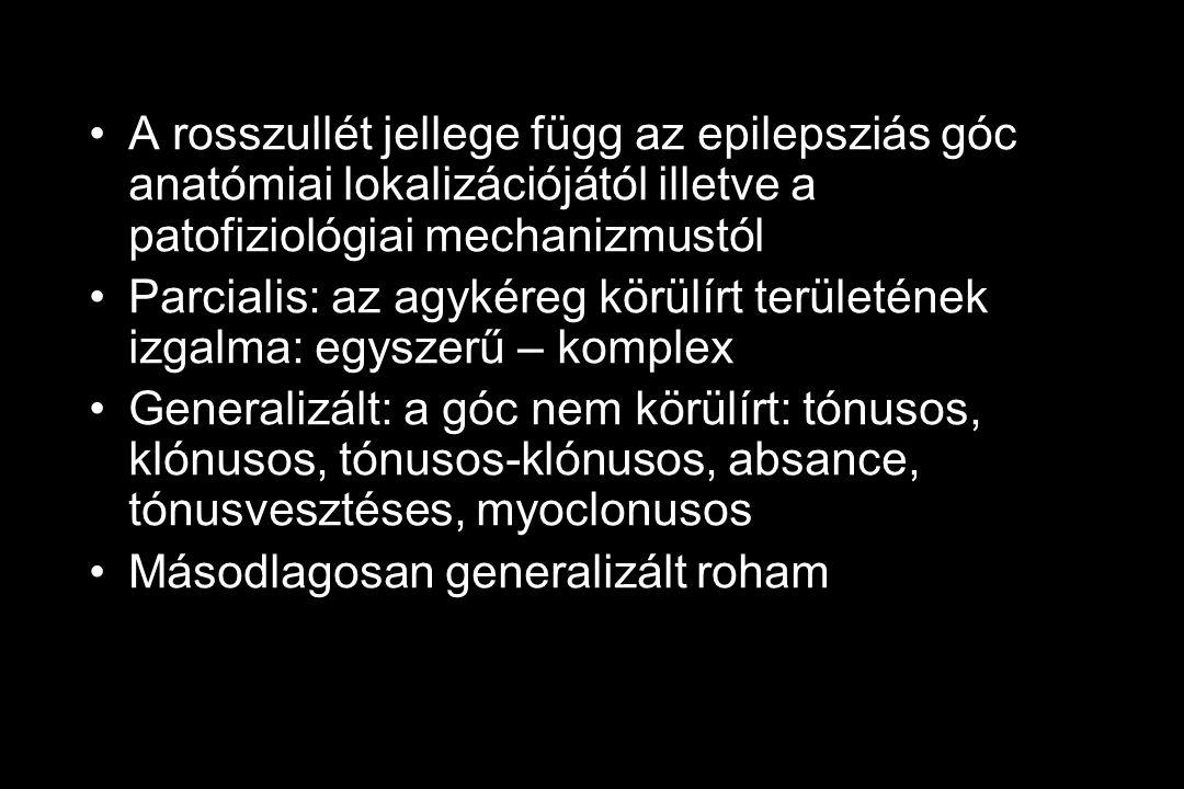 A rosszullét jellege függ az epilepsziás góc anatómiai lokalizációjától illetve a patofiziológiai mechanizmustól Parcialis: az agykéreg körülírt területének izgalma: egyszerű – komplex Generalizált: a góc nem körülírt: tónusos, klónusos, tónusos-klónusos, absance, tónusvesztéses, myoclonusos Másodlagosan generalizált roham