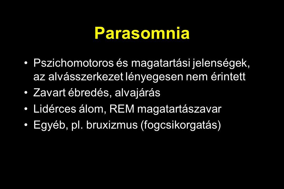 Parasomnia Pszichomotoros és magatartási jelenségek, az alvásszerkezet lényegesen nem érintett Zavart ébredés, alvajárás Lidérces álom, REM magatartászavar Egyéb, pl.