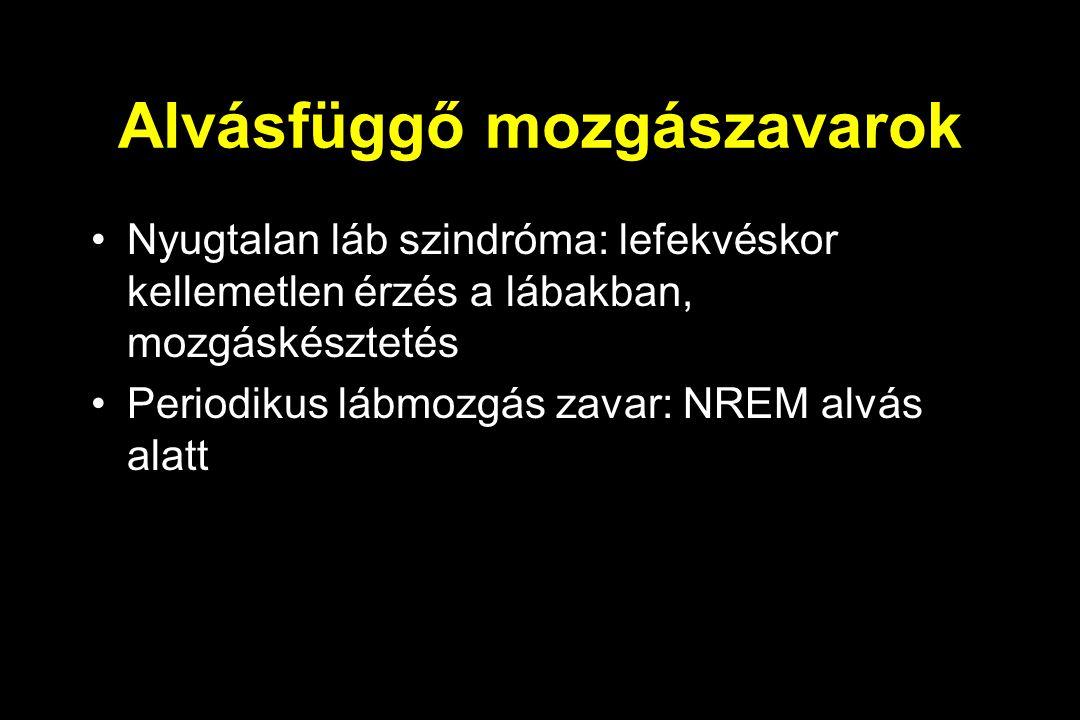 Alvásfüggő mozgászavarok Nyugtalan láb szindróma: lefekvéskor kellemetlen érzés a lábakban, mozgáskésztetés Periodikus lábmozgás zavar: NREM alvás alatt