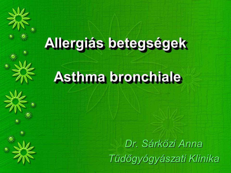 Atopiás betegségek Allergiás rhinitis Asthma bronchiale Ételallergia Gyógyszer allergia Atopiás dermatitis Megfigyelés: több hurut, fertőzés  kevesebb atopia Jóléti betegség !