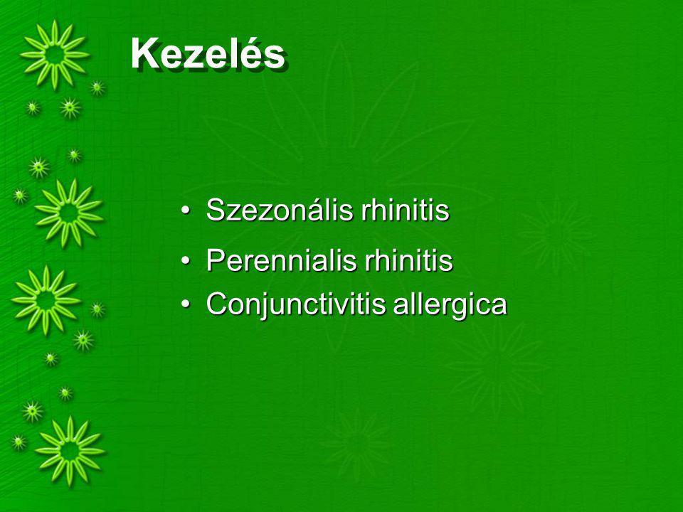 Kezelés Szezonális rhinitisSzezonális rhinitis Perennialis rhinitisPerennialis rhinitis Conjunctivitis allergicaConjunctivitis allergica