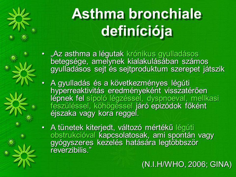 """Asthma bronchiale definíciója """"Az asthma a légutak krónikus gyulladásos betegsége, amelynek kialakulásában számos gyulladásos sejt és sejtproduktum sz"""