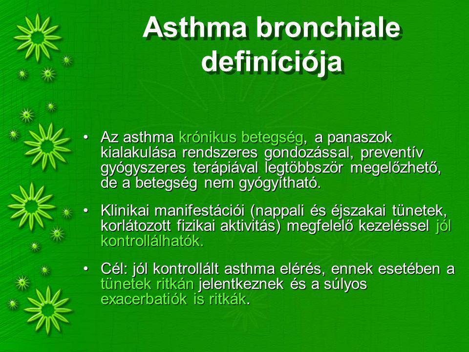 Asthma bronchiale definíciója Az asthma krónikus betegség, a panaszok kialakulása rendszeres gondozással, preventív gyógyszeres terápiával legtöbbször