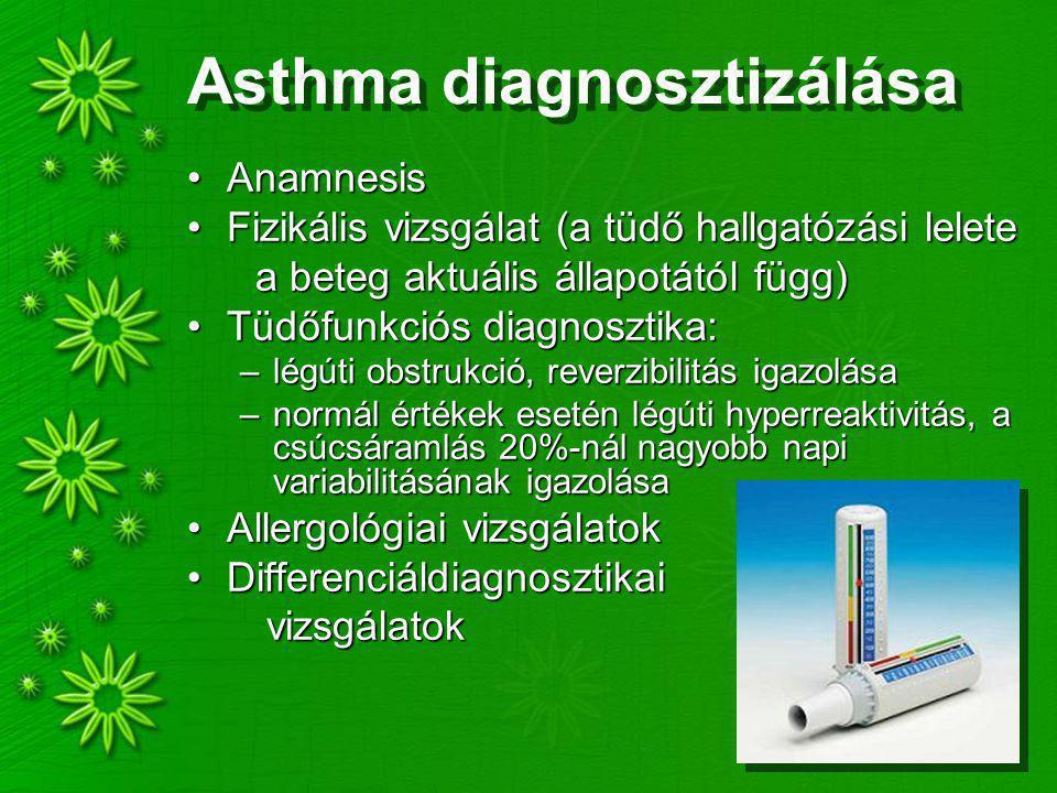 Asthma diagnosztizálása AnamnesisAnamnesis Fizikális vizsgálat (a tüdő hallgatózási leleteFizikális vizsgálat (a tüdő hallgatózási lelete a beteg aktuális állapotától függ) a beteg aktuális állapotától függ) Tüdőfunkciós diagnosztika:Tüdőfunkciós diagnosztika: –légúti obstrukció, reverzibilitás igazolása –normál értékek esetén légúti hyperreaktivitás, a csúcsáramlás 20%-nál nagyobb napi variabilitásának igazolása Allergológiai vizsgálatokAllergológiai vizsgálatok DifferenciáldiagnosztikaiDifferenciáldiagnosztikai vizsgálatok vizsgálatok