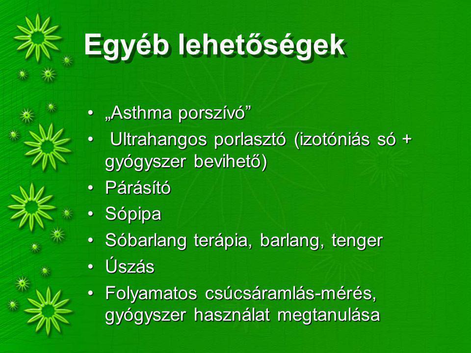 """Egyéb lehetőségek """"Asthma porszívó """"Asthma porszívó Ultrahangos porlasztó (izotóniás só + gyógyszer bevihető) Ultrahangos porlasztó (izotóniás só + gyógyszer bevihető) PárásítóPárásító SópipaSópipa Sóbarlang terápia, barlang, tengerSóbarlang terápia, barlang, tenger ÚszásÚszás Folyamatos csúcsáramlás-mérés, gyógyszer használat megtanulásaFolyamatos csúcsáramlás-mérés, gyógyszer használat megtanulása"""