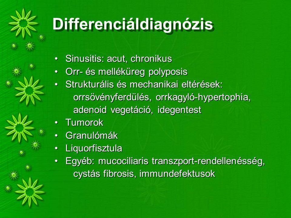 Differenciáldiagnózis Sinusitis: acut, chronikusSinusitis: acut, chronikus Orr- és melléküreg polyposisOrr- és melléküreg polyposis Strukturális és mechanikai eltérések:Strukturális és mechanikai eltérések: orrsövényferdülés, orrkagyló-hypertophia, orrsövényferdülés, orrkagyló-hypertophia, adenoid vegetáció, idegentest adenoid vegetáció, idegentest TumorokTumorok GranulómákGranulómák LiquorfisztulaLiquorfisztula Egyéb: mucociliaris transzport-rendellenésség,Egyéb: mucociliaris transzport-rendellenésség, cystás fibrosis, immundefektusok cystás fibrosis, immundefektusok