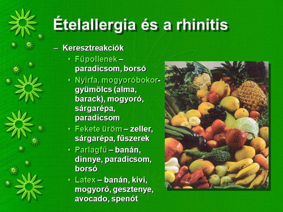 Ételallergia és a rhinitis –Keresztreakciók Fűpollenek – paradicsom, borsóFűpollenek – paradicsom, borsó Nyírfa, mogyoróbokor- gyümölcs (alma, barack), mogyoró, sárgarépa, paradicsomNyírfa, mogyoróbokor- gyümölcs (alma, barack), mogyoró, sárgarépa, paradicsom Fekete üröm – zeller, sárgarépa, fűszerekFekete üröm – zeller, sárgarépa, fűszerek Parlagfű – banán, dinnye, paradicsom, borsóParlagfű – banán, dinnye, paradicsom, borsó Latex – banán, kivi, mogyoró, gesztenye, avocado, spenótLatex – banán, kivi, mogyoró, gesztenye, avocado, spenót