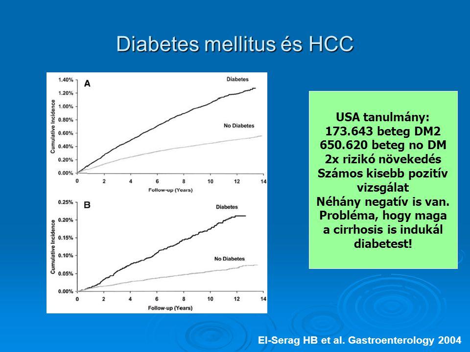 Diabetes mellitus és HCC El-Serag HB et al.