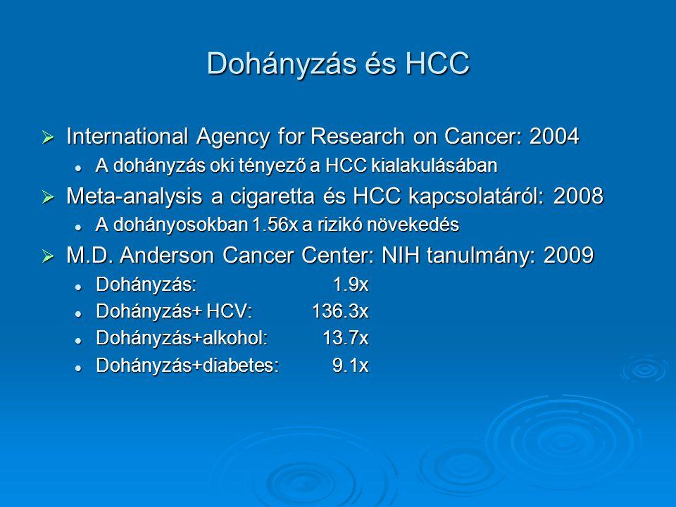 Dohányzás és HCC  International Agency for Research on Cancer: 2004 A dohányzás oki tényező a HCC kialakulásában A dohányzás oki tényező a HCC kialakulásában  Meta-analysis a cigaretta és HCC kapcsolatáról: 2008 A dohányosokban 1.56x a rizikó növekedés A dohányosokban 1.56x a rizikó növekedés  M.D.