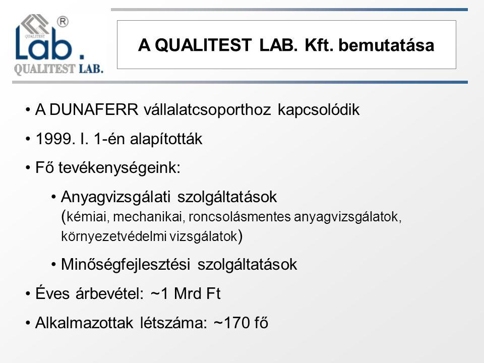 A QUALITEST LAB. Kft. bemutatása A DUNAFERR vállalatcsoporthoz kapcsolódik 1999. I. 1-én alapították Fő tevékenységeink: Anyagvizsgálati szolgáltatáso