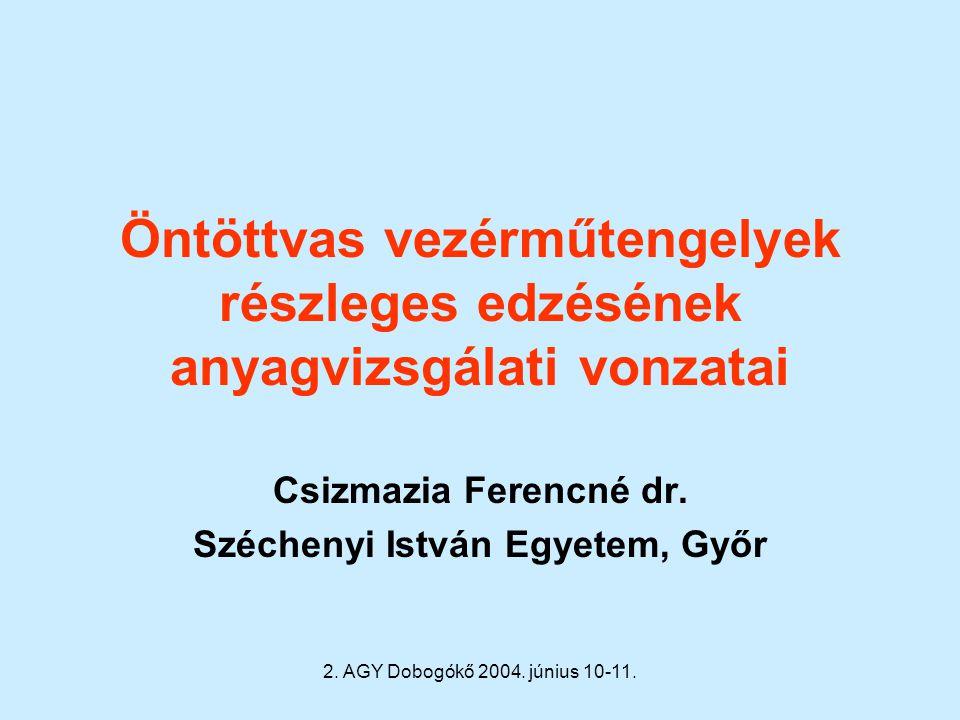 2. AGY Dobogókő 2004. június 10-11. Öntöttvas vezérműtengelyek részleges edzésének anyagvizsgálati vonzatai Csizmazia Ferencné dr. Széchenyi István Eg