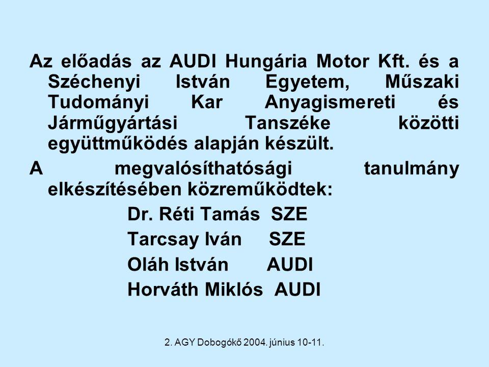 2. AGY Dobogókő 2004. június 10-11. Az előadás az AUDI Hungária Motor Kft. és a Széchenyi István Egyetem, Műszaki Tudományi Kar Anyagismereti és Jármű