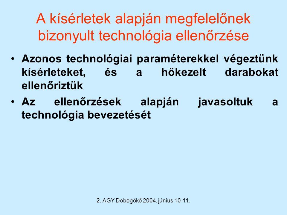 2. AGY Dobogókő 2004. június 10-11. A kísérletek alapján megfelelőnek bizonyult technológia ellenőrzése Azonos technológiai paraméterekkel végeztünk k