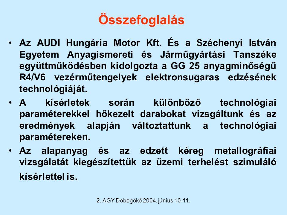 2. AGY Dobogókő 2004. június 10-11. Összefoglalás Az AUDI Hungária Motor Kft. És a Széchenyi István Egyetem Anyagismereti és Járműgyártási Tanszéke eg