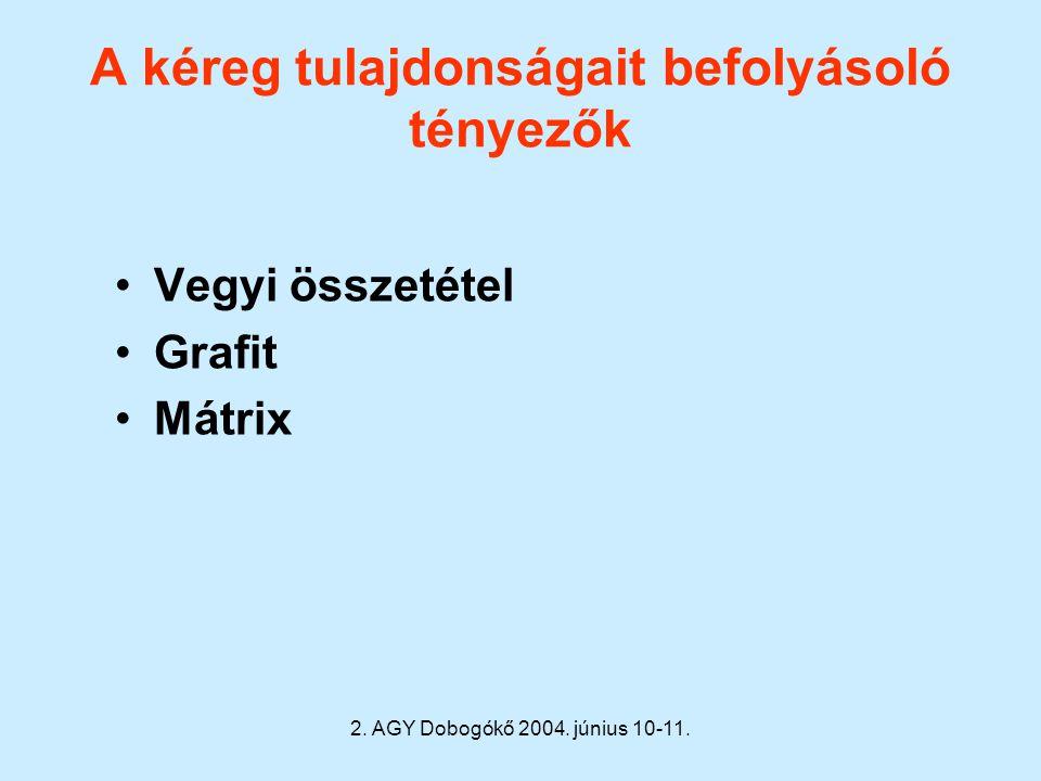 2. AGY Dobogókő 2004. június 10-11. A kéreg tulajdonságait befolyásoló tényezők Vegyi összetétel Grafit Mátrix