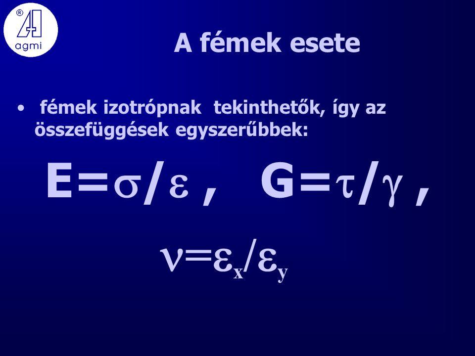 A fémek esete fémek izotrópnak tekinthetők, így az összefüggések egyszerűbbek: E=  / , G=  / , =  x /  y