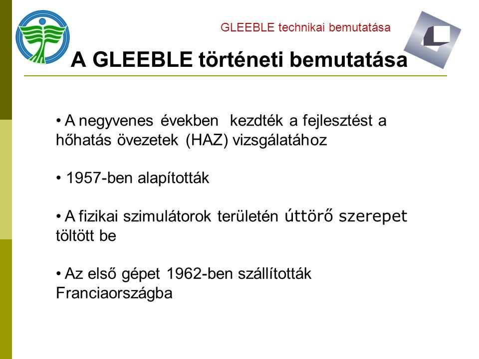 A GLEEBLE történeti bemutatása GLEEBLE technikai bemutatása A negyvenes években kezdték a fejlesztést a hőhatás övezetek (HAZ) vizsgálatához 1957-ben alapították A fizikai szimulátorok területén úttörő szerepet töltött be Az első gépet 1962-ben szállították Franciaországba