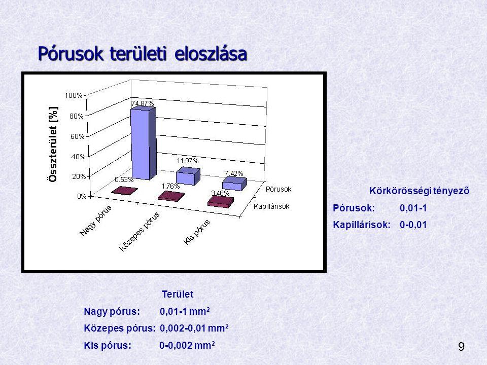 Pórusok területi eloszlása Terület Nagy pórus: 0,01-1 mm 2 Közepes pórus: 0,002-0,01 mm 2 Kis pórus: 0-0,002 mm 2 Körkörösségi tényező Pórusok: 0,01-1 Kapillárisok: 0-0,01 9
