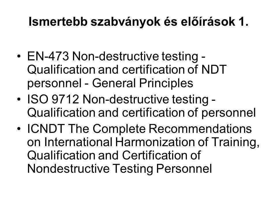 Ismertebb szabványok és előírások 1. EN-473 Non-destructive testing - Qualification and certification of NDT personnel - General Principles ISO 9712 N