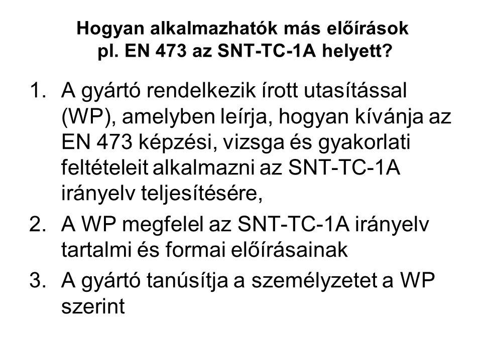 Hogyan alkalmazhatók más előírások pl. EN 473 az SNT-TC-1A helyett? 1.A gyártó rendelkezik írott utasítással (WP), amelyben leírja, hogyan kívánja az