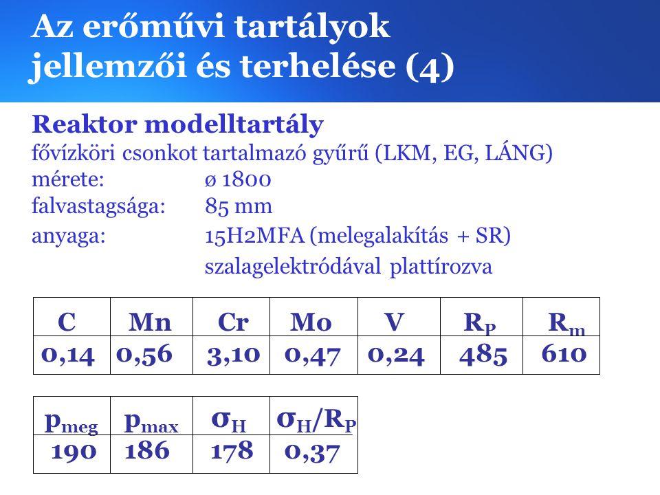 Az erőművi tartályok jellemzői és terhelése (4) Reaktor modelltartály fővízköri csonkot tartalmazó gyűrű (LKM, EG, LÁNG) mérete:ø 1800 falvastagsága: