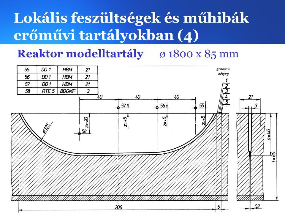 Lokális feszültségek és műhibák erőművi tartályokban (4) Reaktor modelltartályø 1800 x 85 mm