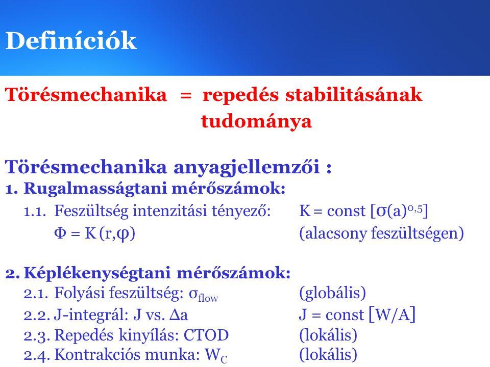 Definíciók Törésmechanika = repedés stabilitásának tudománya Törésmechanika anyagjellemzői : 1.Rugalmasságtani mérőszámok: 1.1.Feszültség intenzitási