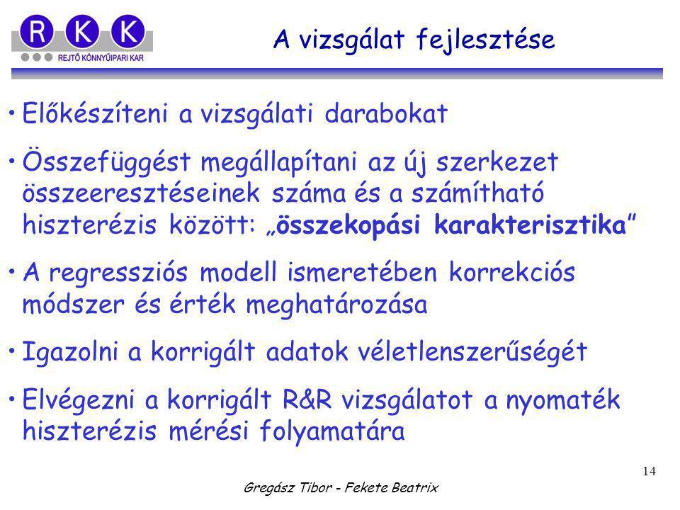 Gregász Tibor - Fekete Beatrix 14 A vizsgálat fejlesztése Előkészíteni a vizsgálati darabokat Összefüggést megállapítani az új szerkezet összeeresztés