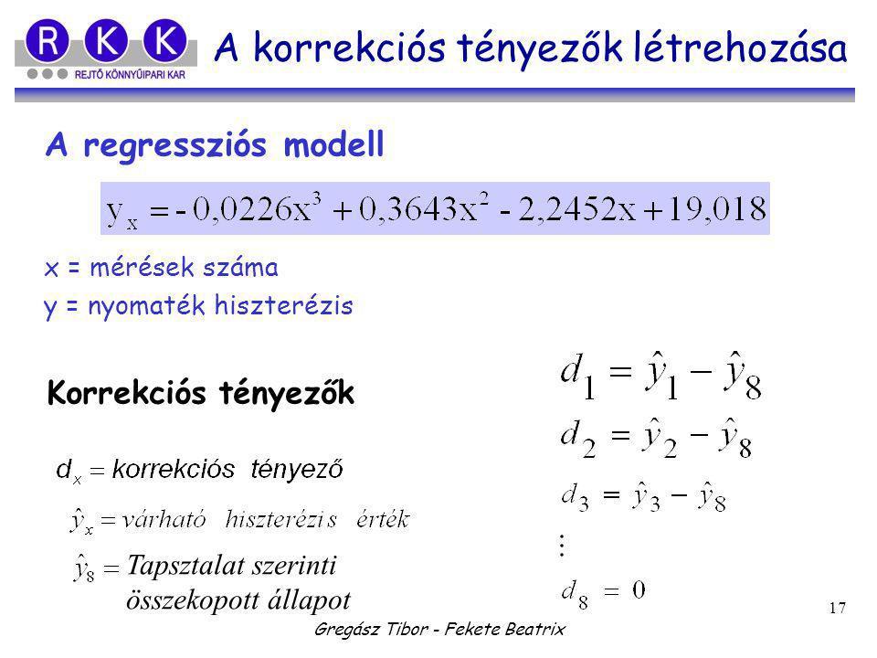 Gregász Tibor - Fekete Beatrix 17 A korrekciós tényezők létrehozása A regressziós modell Korrekciós tényezők Tapsztalat szerinti összekopott állapot x = mérések száma y = nyomaték hiszterézis