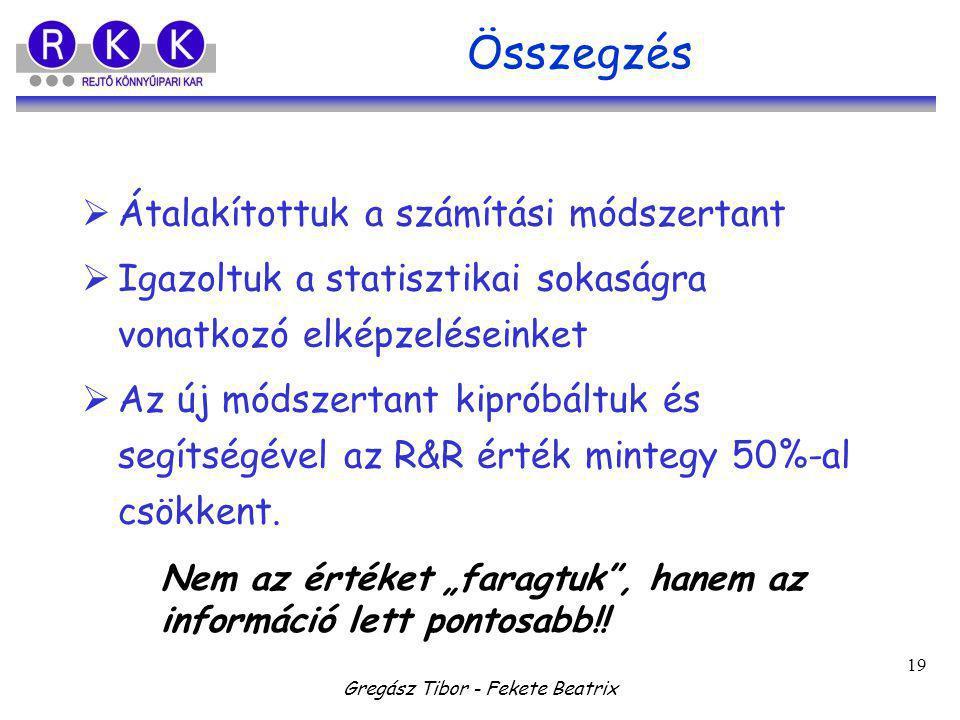 Gregász Tibor - Fekete Beatrix 19 Összegzés  Átalakítottuk a számítási módszertant  Igazoltuk a statisztikai sokaságra vonatkozó elképzeléseinket  Az új módszertant kipróbáltuk és segítségével az R&R érték mintegy 50%-al csökkent.