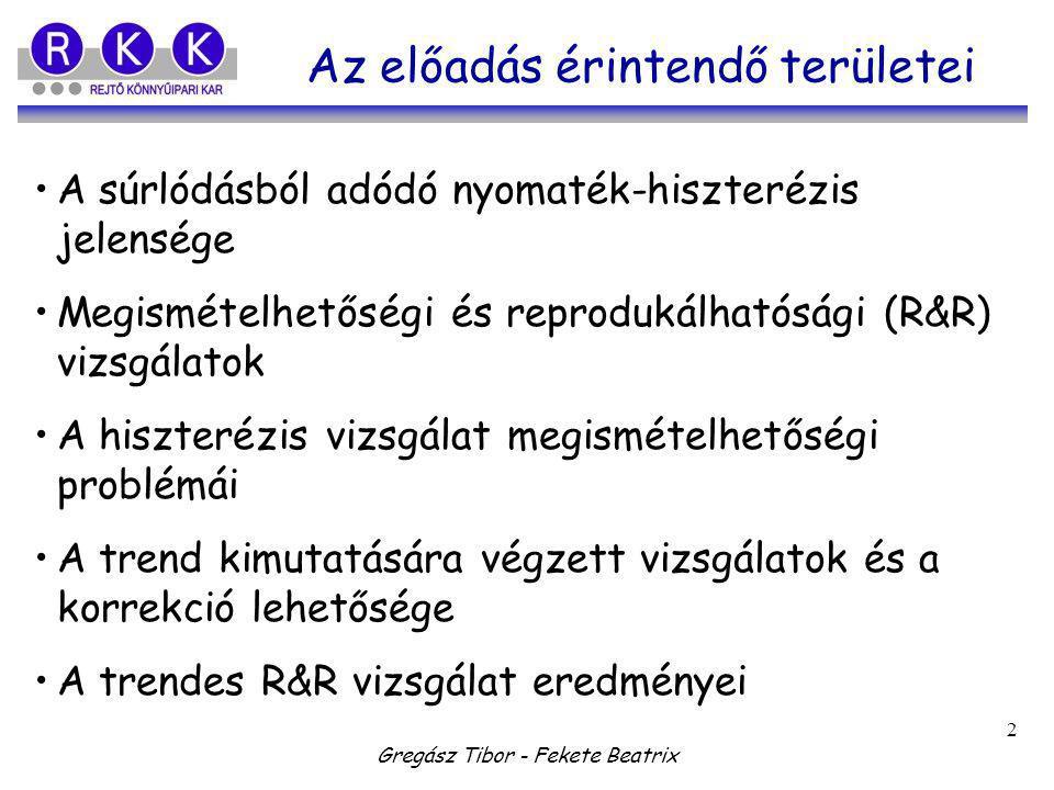 Gregász Tibor - Fekete Beatrix 2 Az előadás érintendő területei A súrlódásból adódó nyomaték-hiszterézis jelensége Megismételhetőségi és reprodukálhat